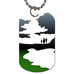 Landscape Silhouette Clipart Kid Abstract Family Natural Green White Dog Tag (two Sides)