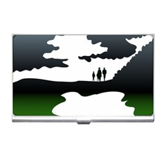 Landscape Silhouette Clipart Kid Abstract Family Natural Green White Business Card Holders