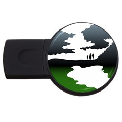 Landscape Silhouette Clipart Kid Abstract Family Natural Green White Usb Flash Drive Round (2 Gb)