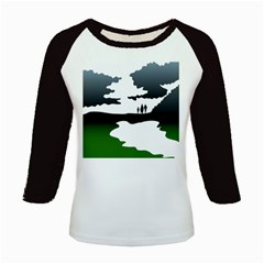 Landscape Silhouette Clipart Kid Abstract Family Natural Green White Kids Baseball Jerseys