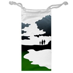 Landscape Silhouette Clipart Kid Abstract Family Natural Green White Jewelry Bag