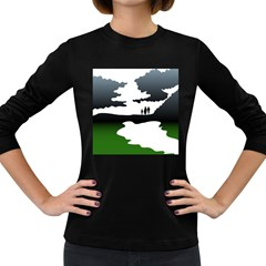 Landscape Silhouette Clipart Kid Abstract Family Natural Green White Women s Long Sleeve Dark T Shirts
