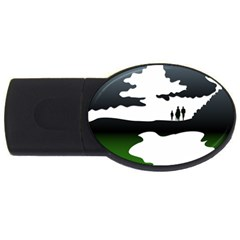 Landscape Silhouette Clipart Kid Abstract Family Natural Green White Usb Flash Drive Oval (4 Gb)