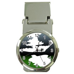 Landscape Silhouette Clipart Kid Abstract Family Natural Green White Money Clip Watches
