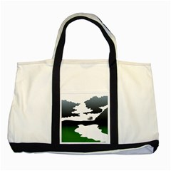 Landscape Silhouette Clipart Kid Abstract Family Natural Green White Two Tone Tote Bag