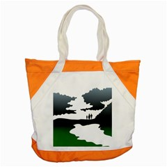 Landscape Silhouette Clipart Kid Abstract Family Natural Green White Accent Tote Bag