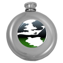 Landscape Silhouette Clipart Kid Abstract Family Natural Green White Round Hip Flask (5 Oz)
