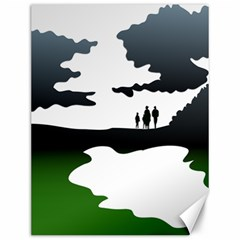 Landscape Silhouette Clipart Kid Abstract Family Natural Green White Canvas 12  X 16