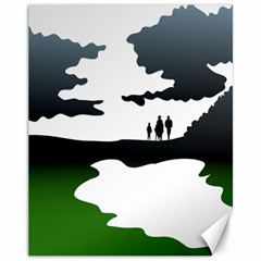 Landscape Silhouette Clipart Kid Abstract Family Natural Green White Canvas 11  X 14