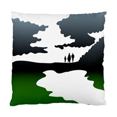 Landscape Silhouette Clipart Kid Abstract Family Natural Green White Standard Cushion Case (one Side)