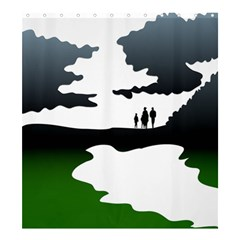 Landscape Silhouette Clipart Kid Abstract Family Natural Green White Shower Curtain 66  X 72  (large)