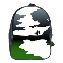 Landscape Silhouette Clipart Kid Abstract Family Natural Green White School Bag (large)