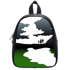 Landscape Silhouette Clipart Kid Abstract Family Natural Green White School Bag (small)