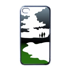 Landscape Silhouette Clipart Kid Abstract Family Natural Green White Apple Iphone 4 Case (black)