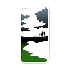 Landscape Silhouette Clipart Kid Abstract Family Natural Green White Apple Iphone 4 Case (white)