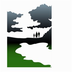 Landscape Silhouette Clipart Kid Abstract Family Natural Green White Large Garden Flag (two Sides)