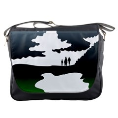 Landscape Silhouette Clipart Kid Abstract Family Natural Green White Messenger Bags