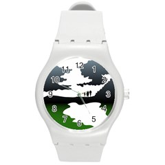 Landscape Silhouette Clipart Kid Abstract Family Natural Green White Round Plastic Sport Watch (m)