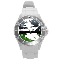 Landscape Silhouette Clipart Kid Abstract Family Natural Green White Round Plastic Sport Watch (l)