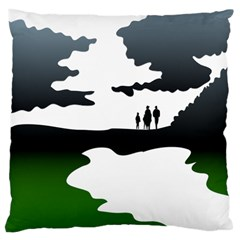 Landscape Silhouette Clipart Kid Abstract Family Natural Green White Large Cushion Case (one Side)