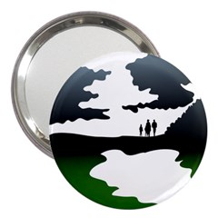 Landscape Silhouette Clipart Kid Abstract Family Natural Green White 3  Handbag Mirrors
