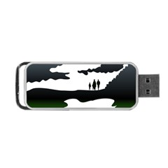 Landscape Silhouette Clipart Kid Abstract Family Natural Green White Portable Usb Flash (one Side)
