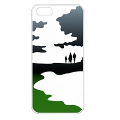 Landscape Silhouette Clipart Kid Abstract Family Natural Green White Apple Iphone 5 Seamless Case (white)