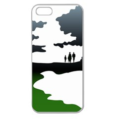 Landscape Silhouette Clipart Kid Abstract Family Natural Green White Apple Seamless Iphone 5 Case (clear)