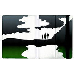 Landscape Silhouette Clipart Kid Abstract Family Natural Green White Apple Ipad 2 Flip Case