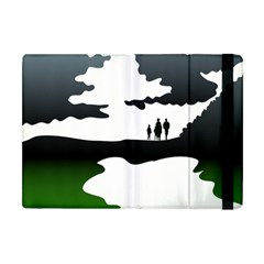 Landscape Silhouette Clipart Kid Abstract Family Natural Green White Apple Ipad Mini Flip Case