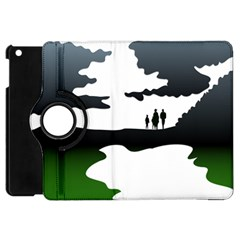 Landscape Silhouette Clipart Kid Abstract Family Natural Green White Apple Ipad Mini Flip 360 Case