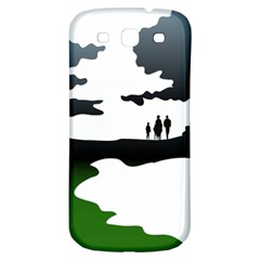 Landscape Silhouette Clipart Kid Abstract Family Natural Green White Samsung Galaxy S3 S Iii Classic Hardshell Back Case