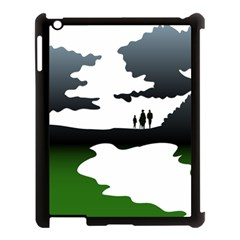 Landscape Silhouette Clipart Kid Abstract Family Natural Green White Apple Ipad 3/4 Case (black)