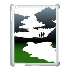 Landscape Silhouette Clipart Kid Abstract Family Natural Green White Apple Ipad 3/4 Case (white)