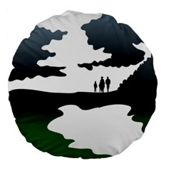 Landscape Silhouette Clipart Kid Abstract Family Natural Green White Large 18  Premium Round Cushions