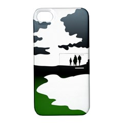 Landscape Silhouette Clipart Kid Abstract Family Natural Green White Apple Iphone 4/4s Hardshell Case With Stand