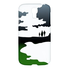 Landscape Silhouette Clipart Kid Abstract Family Natural Green White Samsung Galaxy S4 I9500/i9505 Hardshell Case