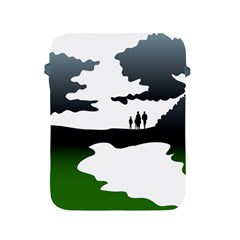 Landscape Silhouette Clipart Kid Abstract Family Natural Green White Apple Ipad 2/3/4 Protective Soft Cases