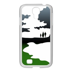 Landscape Silhouette Clipart Kid Abstract Family Natural Green White Samsung Galaxy S4 I9500/ I9505 Case (white)