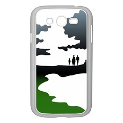 Landscape Silhouette Clipart Kid Abstract Family Natural Green White Samsung Galaxy Grand Duos I9082 Case (white)