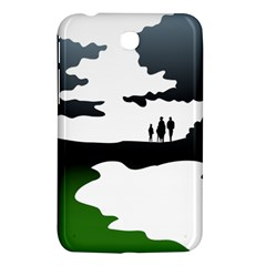 Landscape Silhouette Clipart Kid Abstract Family Natural Green White Samsung Galaxy Tab 3 (7 ) P3200 Hardshell Case
