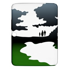 Landscape Silhouette Clipart Kid Abstract Family Natural Green White Samsung Galaxy Tab 3 (10 1 ) P5200 Hardshell Case