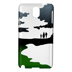 Landscape Silhouette Clipart Kid Abstract Family Natural Green White Samsung Galaxy Note 3 N9005 Hardshell Case