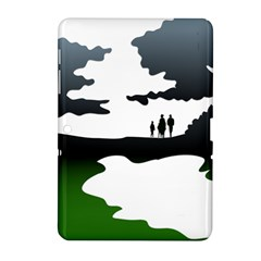 Landscape Silhouette Clipart Kid Abstract Family Natural Green White Samsung Galaxy Tab 2 (10 1 ) P5100 Hardshell Case