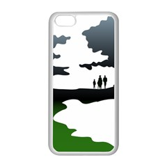 Landscape Silhouette Clipart Kid Abstract Family Natural Green White Apple Iphone 5c Seamless Case (white)