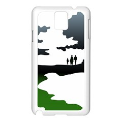 Landscape Silhouette Clipart Kid Abstract Family Natural Green White Samsung Galaxy Note 3 N9005 Case (white)