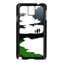 Landscape Silhouette Clipart Kid Abstract Family Natural Green White Samsung Galaxy Note 3 N9005 Case (black)