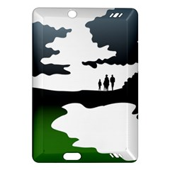 Landscape Silhouette Clipart Kid Abstract Family Natural Green White Amazon Kindle Fire Hd (2013) Hardshell Case