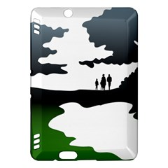 Landscape Silhouette Clipart Kid Abstract Family Natural Green White Kindle Fire Hdx Hardshell Case