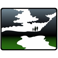 Landscape Silhouette Clipart Kid Abstract Family Natural Green White Double Sided Fleece Blanket (large)